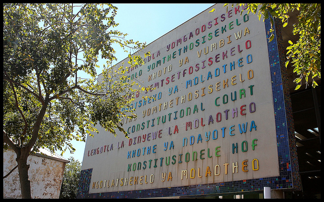 Eleven official languages displayed on the wall of the Constitutional Court